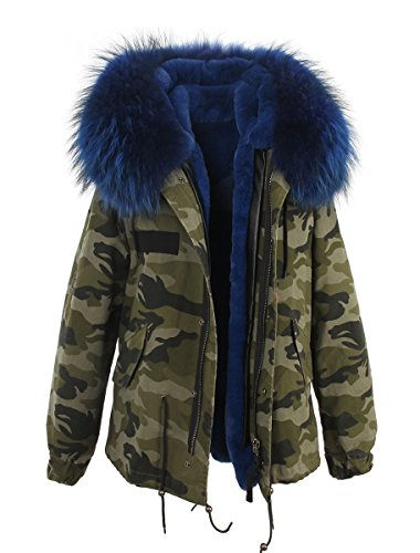 Melody Women's Large Real Raccoon Fur Collar Hooded Parkas Detachable Lining Coat Winter Jacket (XXX-Large, Camouflage - Blue)