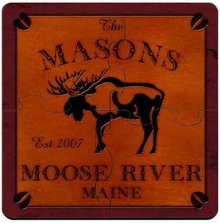 Personalized Cabin Series Coaster Puzzle Set - Moose Coaster Puzzle
