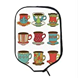 YOLIYANA Tea Party Durable Racket Cover,Colorful Vivid Teacup Design Cartoon Drawing Style Breakfast Brunch Illustration Decorative for Sandbeach,One Size