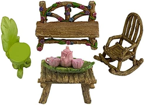 Twig Flower The Super Cute Miniature Eight Piece Fairy Garden Furniture Tiny Tea Set