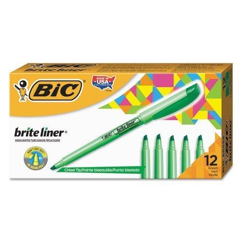 BIC BL11GN Brite Liner Highlighter, Chisel Tip, Fluorescent Green, ()