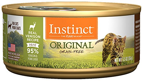 Instinct Original Grain Free Real Venison Recipe Natural Wet Canned Cat Food by Nature's Variety, 5.5 oz. Cans (Case of - Canned Food Venison Cat