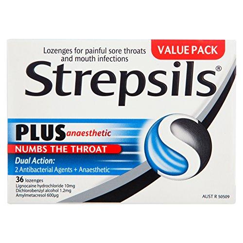 (Strepsils Plus Sore Throat Lozenges Pain Relief Numbing 36 Pack)