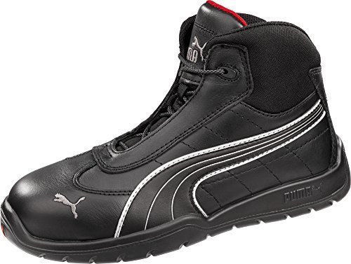 Daytona Leather Boot (Puma Safety Black Mens Leather Daytona Mid SD WRU ST LaceUp Work Boots 8 W)