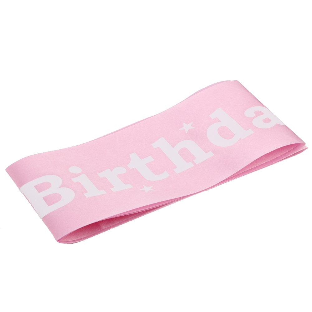 Whitelotous Girl Birthday Cloth Sash,Party Decoration Ribbon Pink