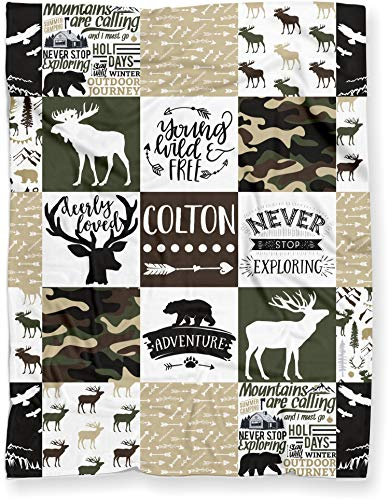 Personalized Camo Moose, Deer, and Bear Woodland Plush Baby Blanket for Boy (Soft Polyester Fleece - Green Camo Back - 30