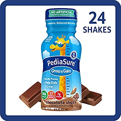 Pediasure Grow Gain Kids Nutritional Shake With Protein Dha And Vitamins Minerals Chocolate 8 Fl Oz 24 Count