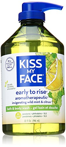 Kiss My Face Early-to-Rise Moisturizing Shower Gel, Bath and Body Wash, Value Size 32 oz (Citrus Shower Mint Gel)