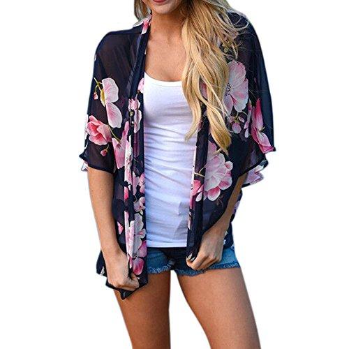 Mikey Store Kimono Cardigans Floral Loose Half Sleeve Shawl Chiffon Casual Cardigan (XXX-Large, Navy)