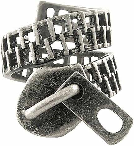 Enhanced Zipper Wrap Ring Vintage Silver Tone