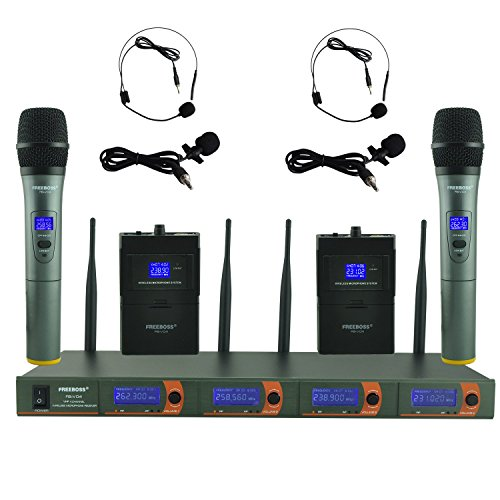 Freeboss FB-V04 2 Handheld 2 Headset Lavalier Vhf Wireless Microphone