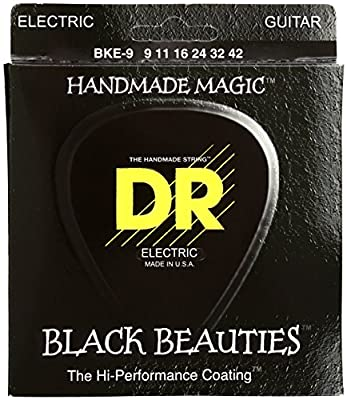 DR Strings Electric Guitar Strings, Black Beauties - Extra-Life, Black Coated, 9-42