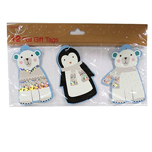 Christmas Large Silver Foil Gift Tags - Cute Polar Bear and...
