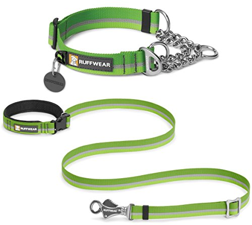 RUFFWEAR CHAIN REACTION COLLAR & SLACKLINE LEASH COMBO - ADJUSTABLE LENGTH WAIST WORN OR HAND HELD LEASH - ALL SIZES AND COLORS (Medium, Meadow Green) (Reaction Line)