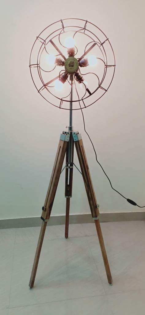 Lámpara de suelo con ventilador náutico para salón, dormitorio, balcón, bar, soporte creativo para lámpara de trípode