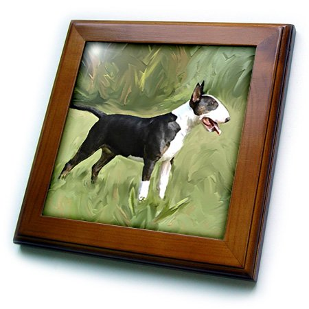 3dRose ft_4448_1 Bull Terrier Framed Tile, 8 by 8-Inch -