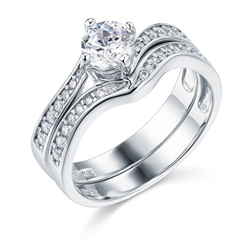14k White Gold Engagement And Wedding Band 2 Piece Set