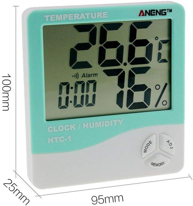 Digital LCD Thermometer Hygrometer Humidity Meter Room Indoor Temperature Clock;