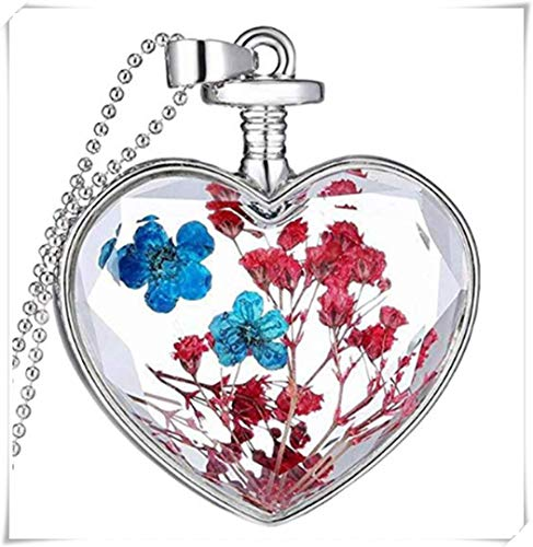 Dry Embossed Charm Small Box Heart Pendant, red Resin Blue Flower Necklace.