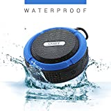 Coby Waterproof Shower Speaker – Portable - Wireless Bluetooth - Water Resistant - Pool Party/Bathroom Music - Mic & Answer Button Media Shortcut Rugged & Compact Built in Suction Cup (Blue)
