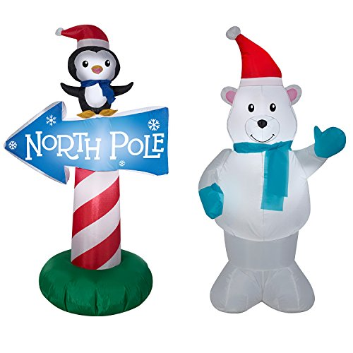 Gemmy Polar Bear & Penguin w/North Pole Sign Bundle - Christmas Inflatables ()
