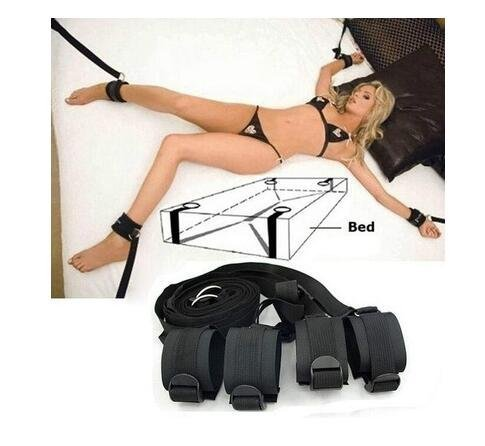 Under Bed Bondageromance Kit Slip on Bed to Tie up Your Lover, Bed Restraints with Adjustable Soft and Comfortable Wrist and Ankle Handcuffs - Black Nylon