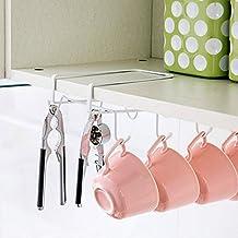 Mkono Multi-purpose Under Cabinet Mug Cup Holder Tool Tie Rack Kitchen Hanging Organizer White 8 Hook