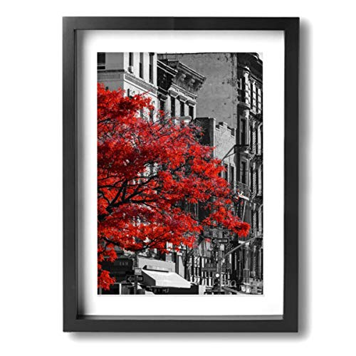 (Red Fall Tree In Black And White NYC Street Scene Contemporary Wall Art Canvas Framed Paintings Home Decor Wall Pictures Ready To Hang)