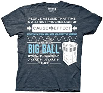 Doctor Who Wibbly Wobbly Quote Adult Gray T-Shirt (Adult XX-Large)