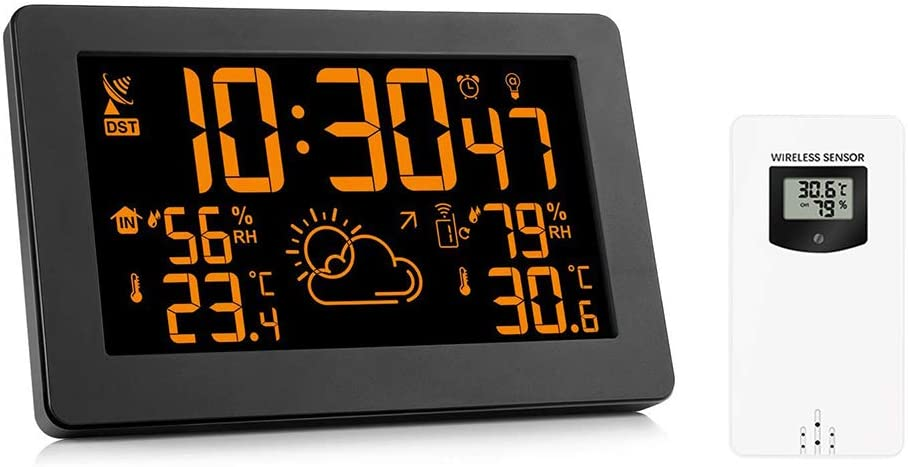 Konesky Estación Meteorológica Inalámbrica Reloj Digital de 7.5 Pulgadas Reloj Meteorológico Higrómetro Termómetro
