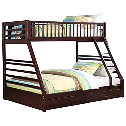 Amazon Com Pemberly Row Twin Xl Over Queen Bunk Bed In Espresso