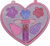 Make Up Set for Children - Includes Lipstick, Blush, Eyeshadow in a Cute Heart Hard Case. Perfect for Little Princesses, Birthday party, Gift, Handout, Pinata Filler, and More! Toy Makeup set