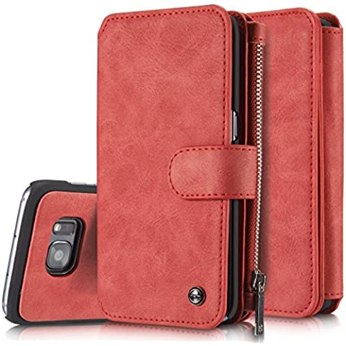 S7 Edge Wallet Case Holster, CaseMe Galaxy S7 Edge Cases with Card Holder for Mens / Womens - 14 Card Slots (Red) Sales