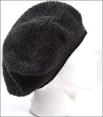 069e4576 Image Unavailable. Image not available for. Color: POM London Crochet Tam  Beret Hat: Charcoal, Black Rim
