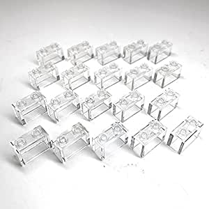 "Lego Parts: Modular Buildings - Bricks ""1 x 2 w/o Bottom Tube"" (Service Pack 3065 - 20 Transparent Clear)"