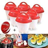 Egglettes Egg Cooker by Healthy Foodz, Hard or Soft boiled eggs without the shell, 6 Egg cookers BPA free with EGG TIMER.