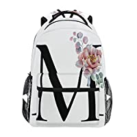 TropicalLife Letter M with Flower Backpacks Bookbag Shoulder Backpack Hiking Travel Daypack Casual Bags