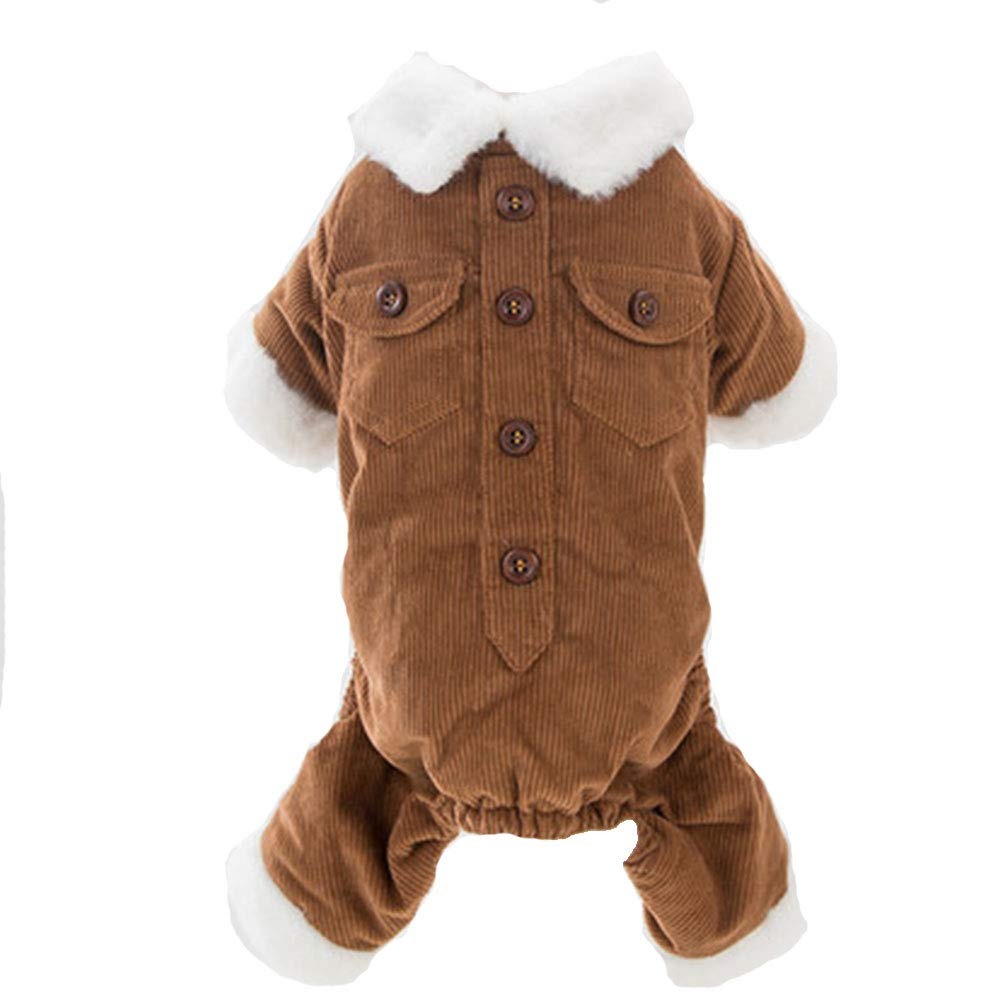 BROWN S BROWN S HUIFEI Corduroy Cute Pet Dog Clothes Four-Legged Clothes Teddy Bear Small Dog Thick Cotton Puppies (color   Brown, Size   S)