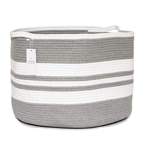 White+Gray 21.7 x 13.8  Large Round Cotton Baskets with Handles for Kids Toys Storage//Laundry//Clothes//Blanket//Pillow//Towel//Diaper//Home Decor Doriar XXXL Braided Woven Cotton Rope Basket