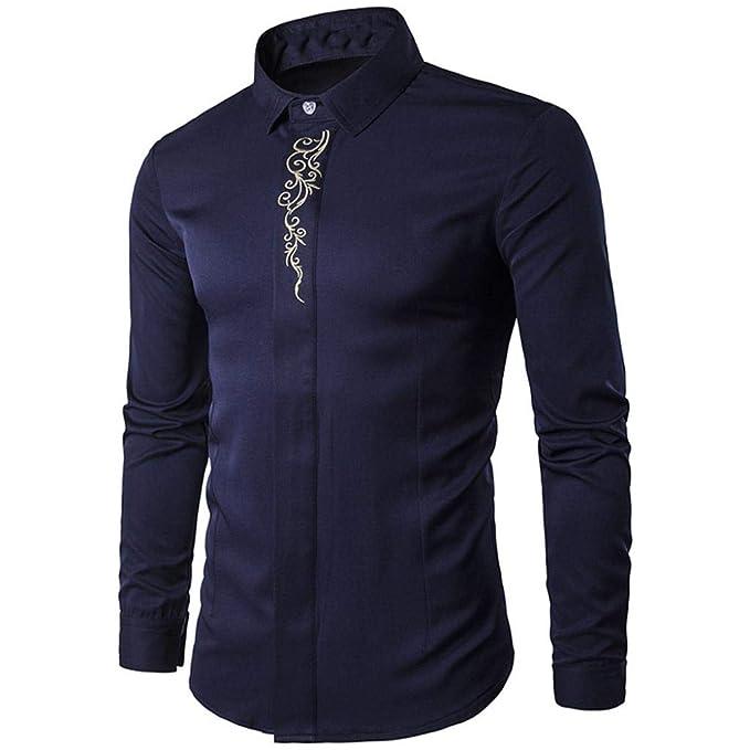 Camisas Casual Hombre Manga Larga, Covermason Blusas para Hombres Hipster fit Bordado con Botones Blusas: Amazon.es: Ropa y accesorios