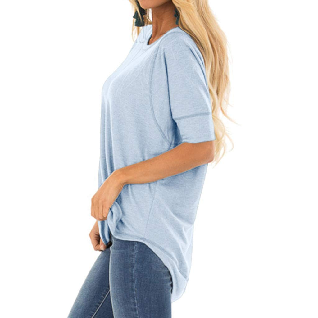 Womens Plus Size Blouses and Tops,Alonea Summer V Neck Stitched T-Shirts Short Sleeve Casual Loose Patchwork Tops Blouse