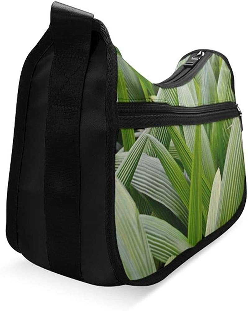 Beautiful Of Green Tropical Leaves Messenger Bag Crossbody Bag Large Durable Shoulder School Or Business Bag Oxford Fabric For Mens Womens