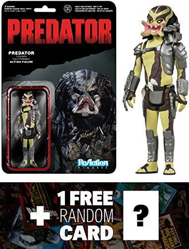 Open Mouth Predator: Funko ReAction x Predator Action Figure + 1 FREE Classic Sci-fi & Horror Movies Trading Card Bundle (39196)