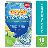 Emergen-C Hydration+ Sports Drink Mix With Vitamin C (18 Count, Lemon Lime Flavor), Electrolyte Replenishment, 0.33 Ounce Powder Packets