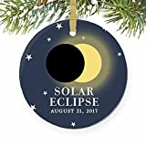 Solar Eclipse August 21 North America Total Partial Sun Moon Round Christmas Ornament Keepsake Xmas Tree Decoration Wedding Anniversary Present Christmas Tree Gift Idea - 3 inch