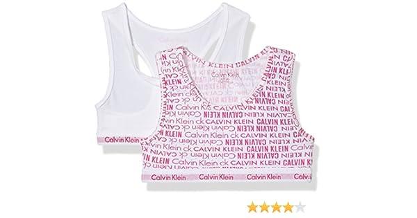 Calvin Klein 2PK Bralette, Bralette para Niñas, Multicolor (White Viva Pink PR 907), 14-16 años: Amazon.es: Ropa y accesorios