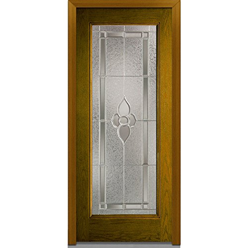 """UPC 769001012053, National Door Company Z022042R Fiberglass Prehung Right Hand In-Swing Entry Door with Master Nouveau Decorative Glass, Full Lite, Oak, 32"""" x 80"""""""