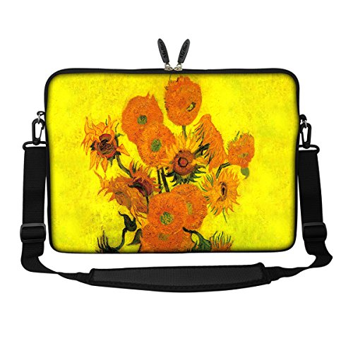 Meffort Inc 17 17.3 inch Neoprene Laptop Sleeve Bag Carrying Case with Hidden Handle and Adjustable Shoulder Strap - Van Gogh Sunflowers