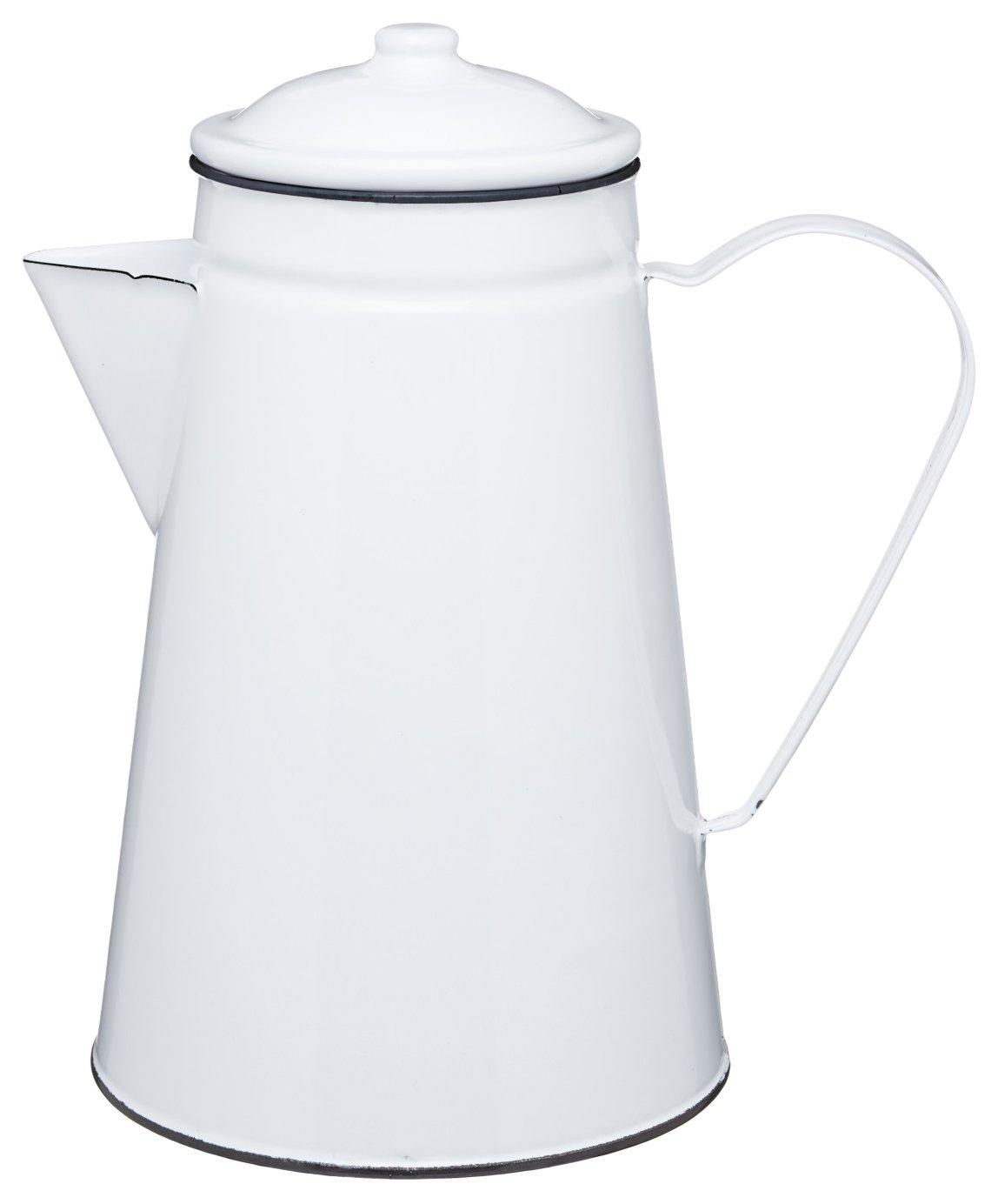 KitchenCraft Living Nostalgia Enamel Coffee Pot / Serving Jug / Vase, 1.5 L (2.5 pts) – White / Grey Kitchen Craft LNENCOFJUG
