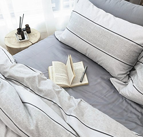 Minimalist Abstract Striped Duvet Quilt Cover Dusty Taupe Tan Light Grey Geo Brush Stroke Pattern 100 Percent Cotton Sateen 400Tc 3 Piece Bedding Set  Queen  Marmara